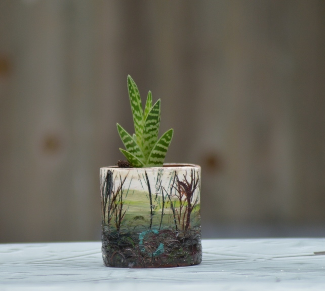 Ceramic vessel earthenware plant pot with trees and a planted up with a succulent cactus